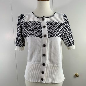 Moth L short sleeve sweater black white scallopped